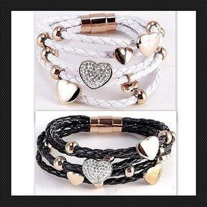 Jewelry - Love CZ Heart Bracelet Rose Gold Braided
